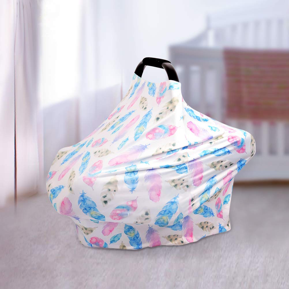 Feeding Cover Stroller Car seat Covers for Girls and Boys Nursing Cover Stretchy Baby Car Seat Cover Canopy Soft Breathable Breastfeeding Cover Shopping Cart Colorful