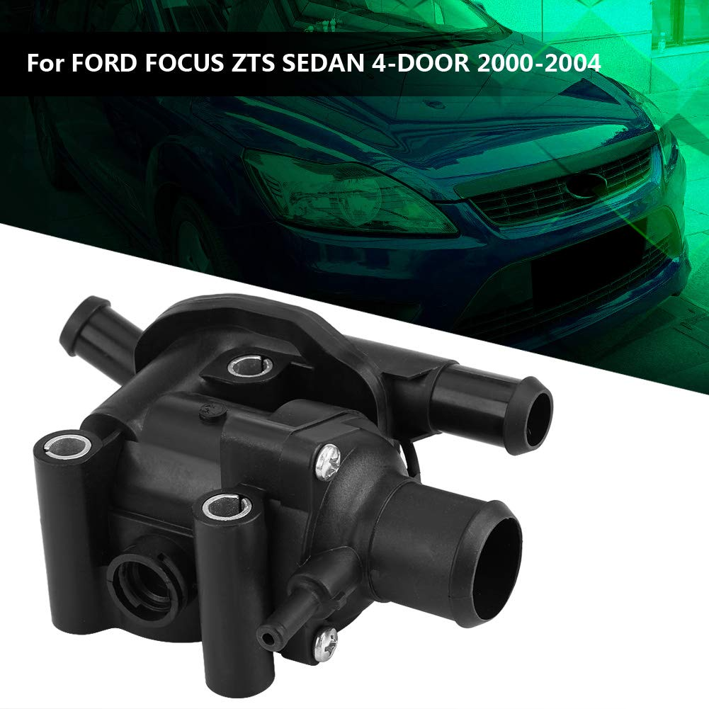 Terisass Thermostat YS4Z-8592-BD Car Engine Coolant Thermostat Water Outlet Housing for Ford Focus 2.0L 2000 2001 2002 2003 2004