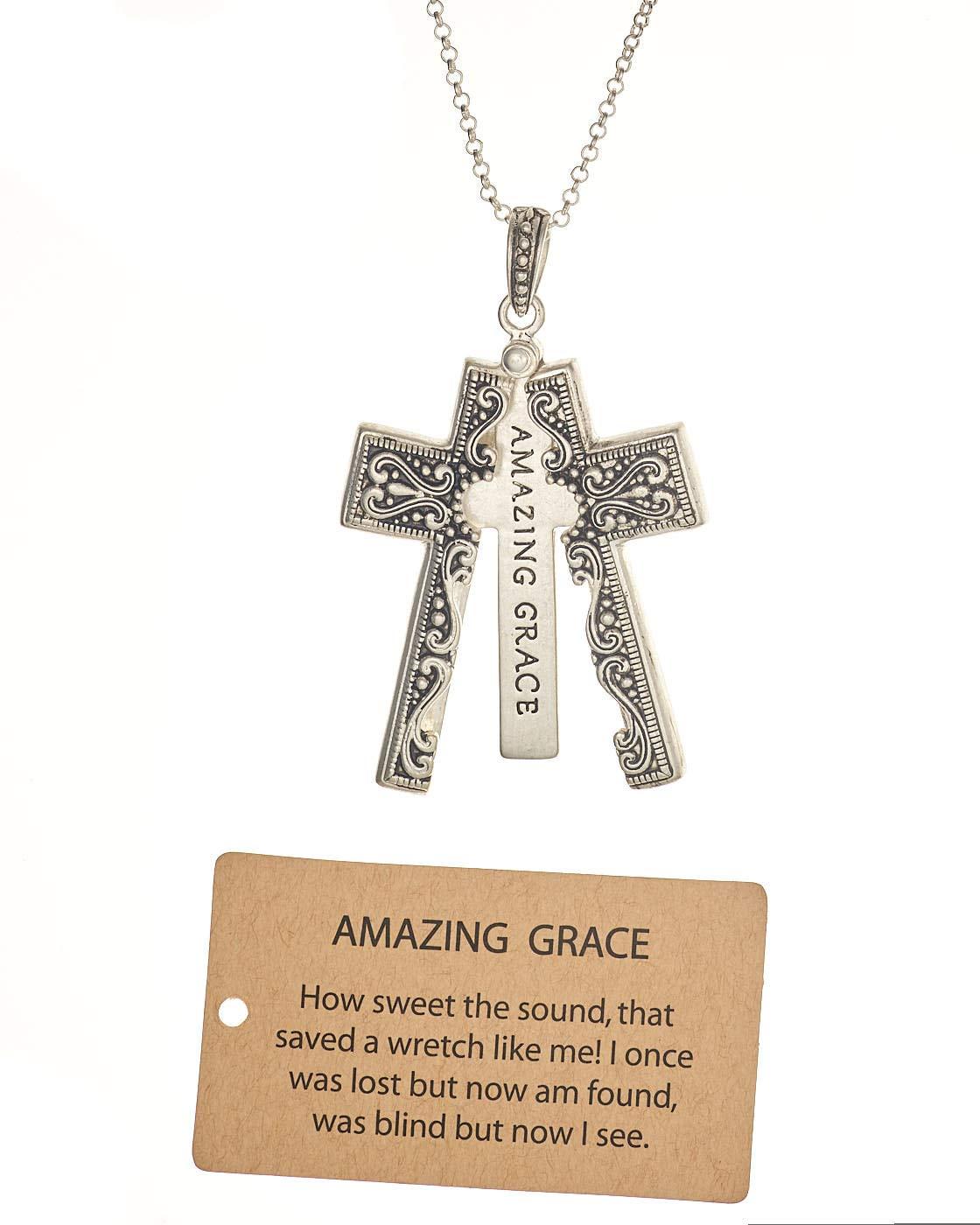 Jewelry Nexus Amazing Grace Engraved Cross Message Pendant Locket Necklace, Silver-Tone