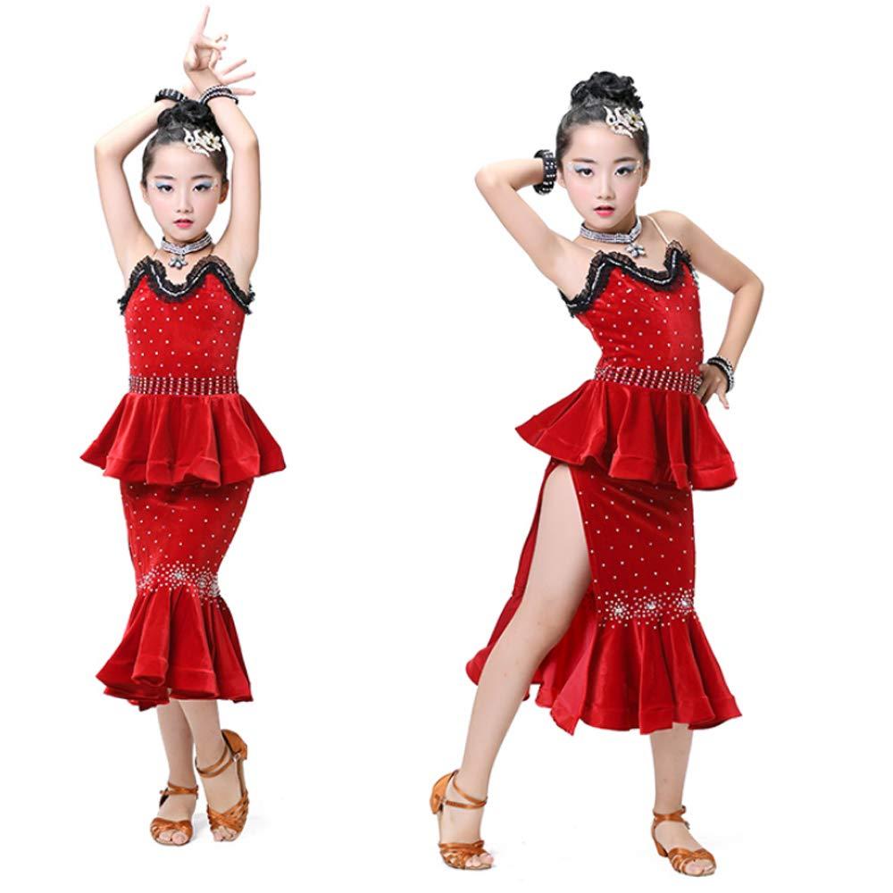 8af5bb6e04e4 YONGMEI Dance Costume - Children's Latin Dance Costumes New Latin Dance  Dress Competition Performance Sequins Fringe Drill (Color : Black, Size :  120cm)