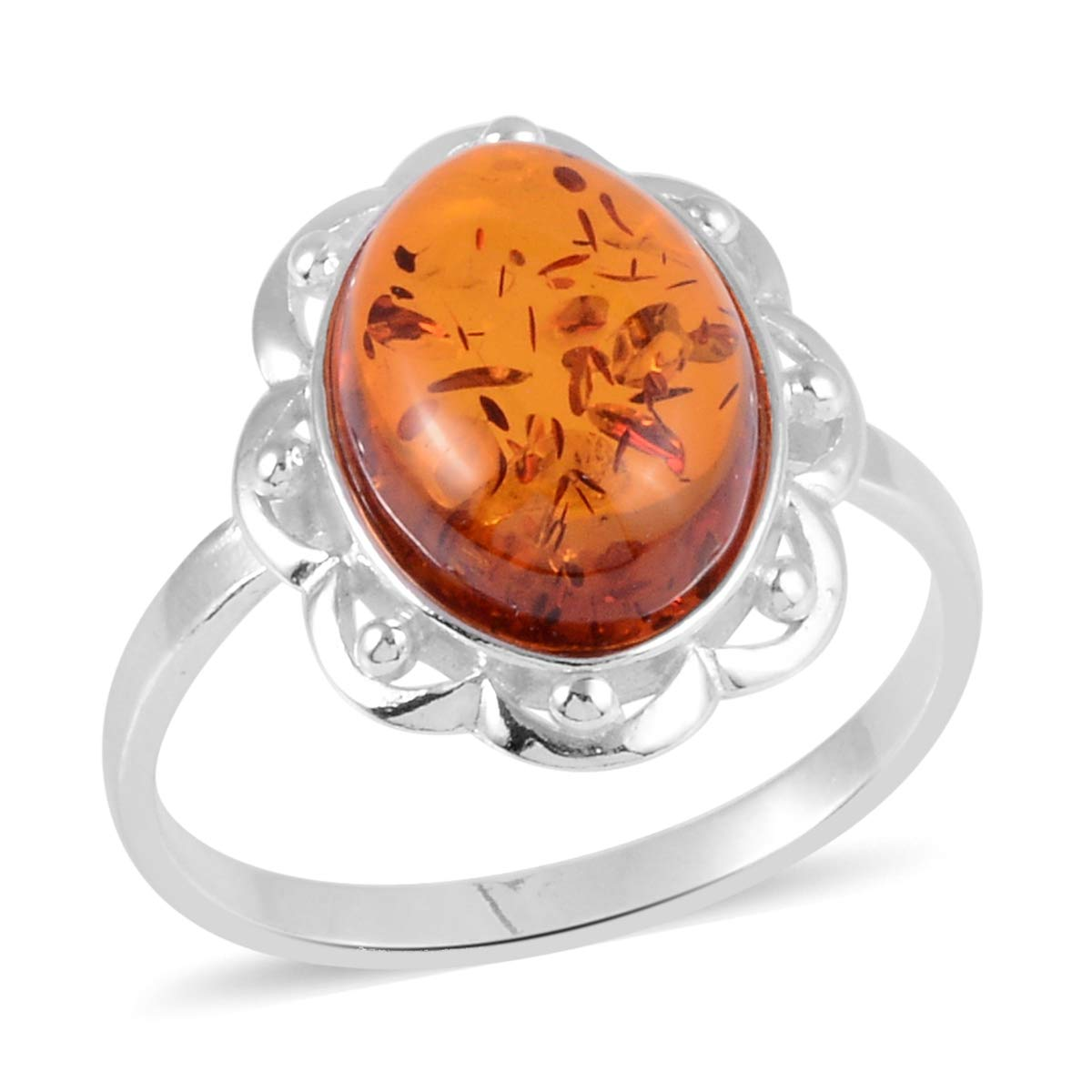 Amber Flower Ring 925 Sterling Silver Boho Handmade Jewelry for Women Size 9