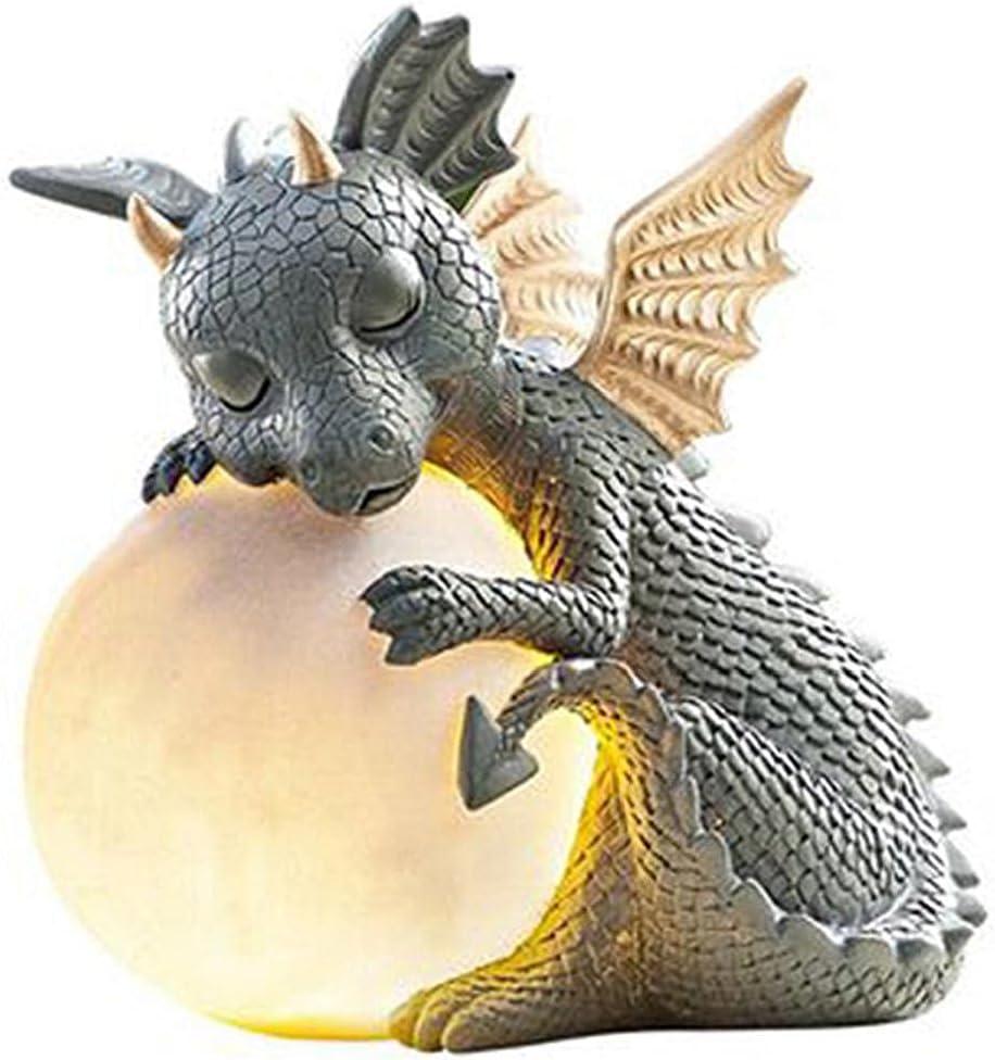 fregthf LjzlSxMF Garden Dragon,Solar Dragon Statue with Gazing Ball,Garden Resin Statue Meditated Dragon Ornament Realistic Animal Collecting Sculpture