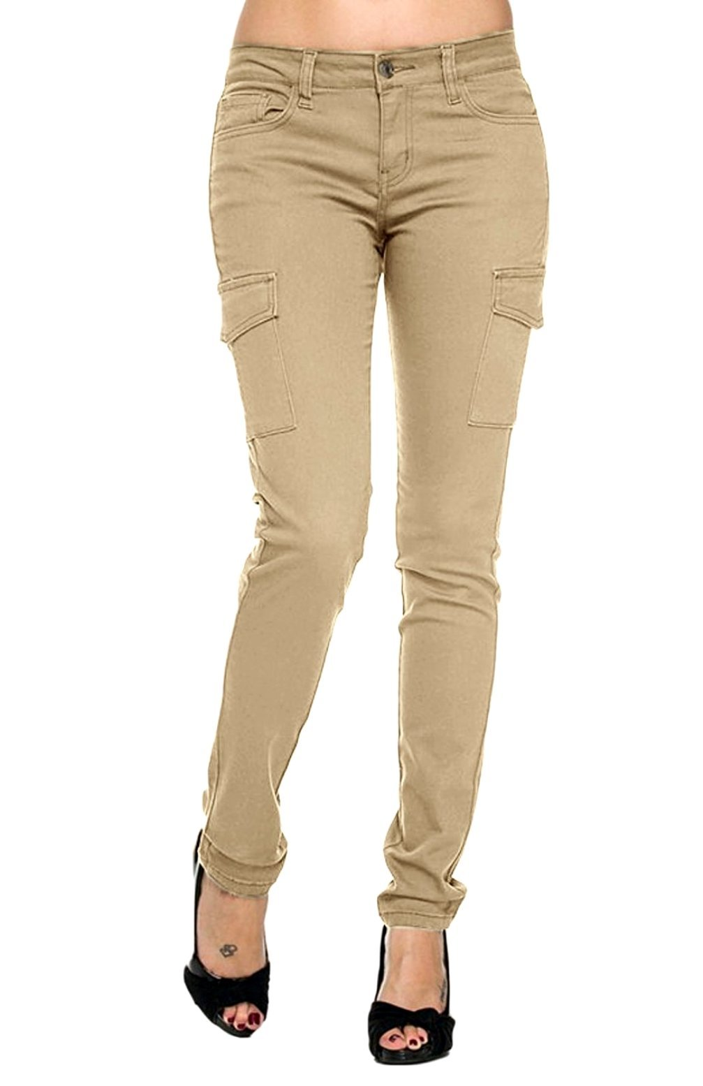 B.B Jeans Ladies Women's Cargo Pants Sexy Stretch Solid Casual Skinny (3, Twill Cargo 90010 Khaki) by JEANS FOR LOVE (Image #1)