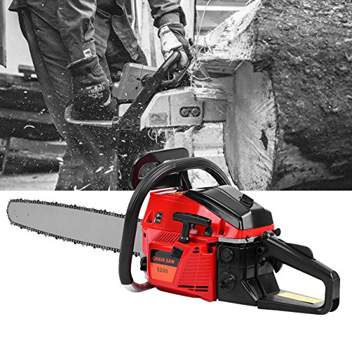 "Ridgeyard 22"" 52CC Professional 2-Stroke Petrol Chainsaw Wood Cutting Gasoline Chainsaw with Aluminum Crankshaft"