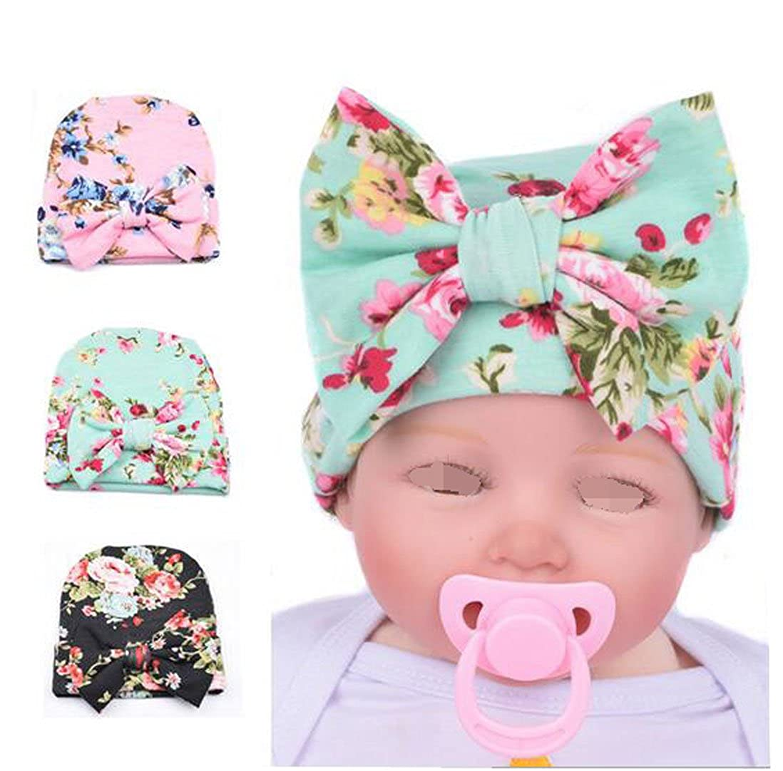 Luckystaryuan Lucky staryuan Black Friday 3Pieces Baby Girl Knitting Cotton Hat Flower Caps