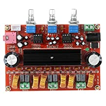 2.1 Channel TPA3116D2 Digital Amplifier Board, 2 50W +100W Subwoofer Power Audio Sereo AMP Module, DC 12~24V Stereo AMP Module for Car Home Audio System DIY Speakers (50W+50W+100W)