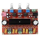 2.1 Channel TPA3116D2 Digital Amplifier Board, 2 50W +100W Subwoofer Power Audio Sereo AMP Module, DC 12~24V Stereo AMP Module for Car Home Audio System DIY Speakers (50W+50W+100W)