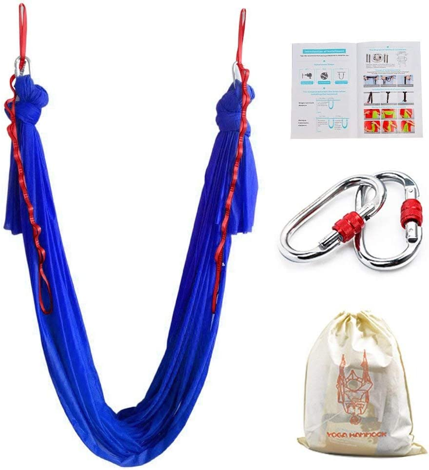 Zenlink Aerial Yoga Swing Trapeze Yoga Aerial Hammock Yoga Inversion Sling for Antigravity Flying Yoga Inversion Fitness Training Including 2 Extensions Straps