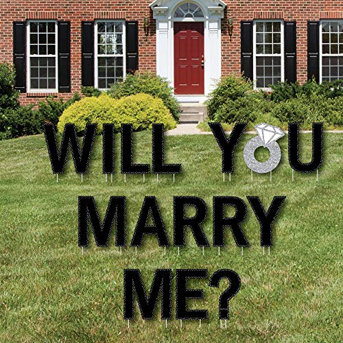 (Big Dot of Happiness Will You Marry Me? - Yard Sign Outdoor Lawn Decorations - Marriage Proposal Yard)