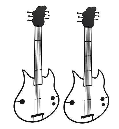 Negro metal Guitarra eléctrica pared Escultura juego de 2