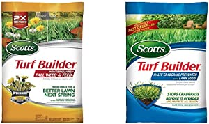 Scotts Turf Builder WinterGuard Fall Weed & Feed 3, 5,000 sq. ft. & Turf Builder Halts Crabgrass Preventer with Lawn Food, 5,000 sq. ft.