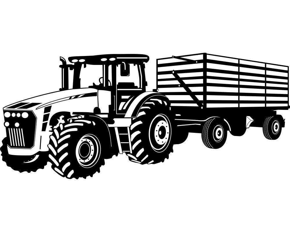Erstaunlich Wandtattoo Trecker Referenz Von Traktor Mit Anhänger Kinderzimmer Kinder Wandaufkleber In