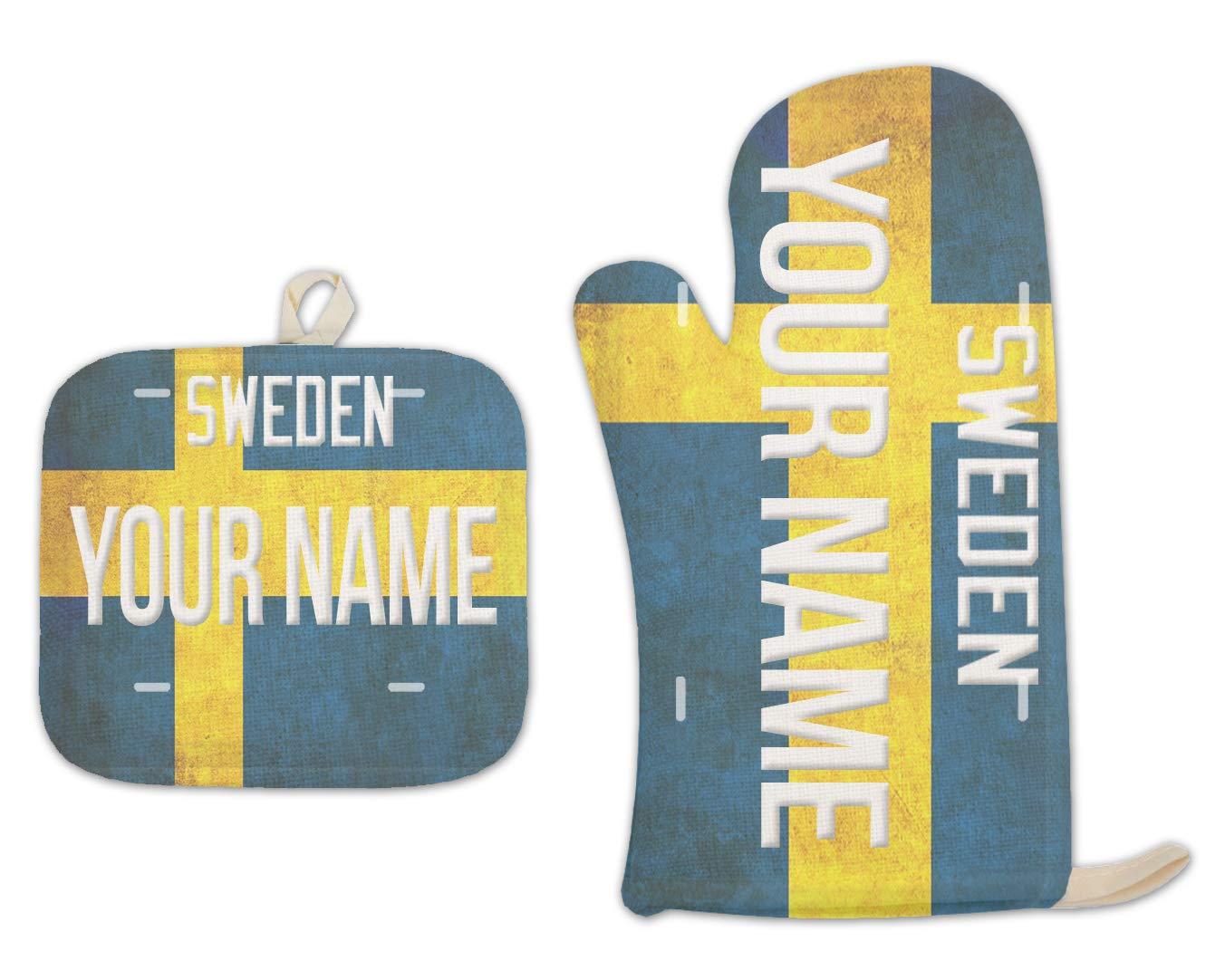 Bleu Reign BRGiftShop Personalized Custom Name License Sweden Plate Linen Oven Mitt and Potholder Set