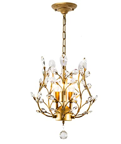 Garwarm Modern Crystal Chandeliers, Small Chandelier Pendant  Lighting,Ceiling Lights Fixtures for Living Room Bedroom Restaurant Dining  Room,Gold