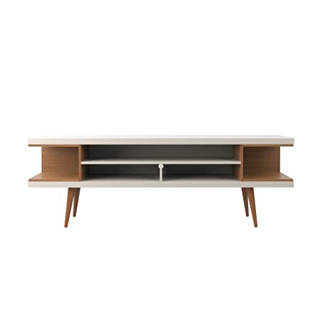 Manhattan Comfort Utopia Collection Mid Century Modern TV Stand With Open 3 Open Shelves and Two Open Cubbies, Off White Wood