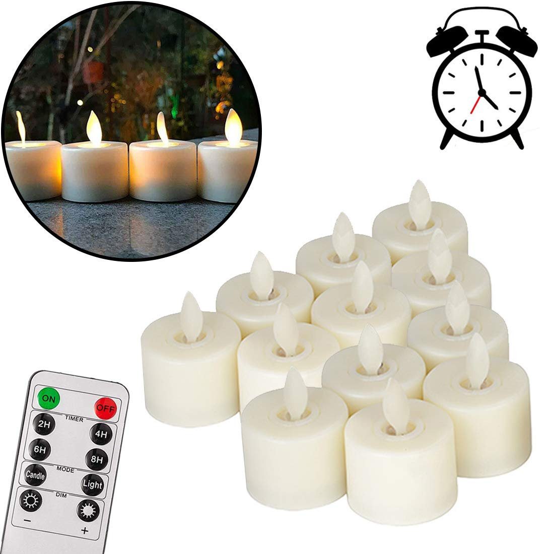 Pack of 12 Realistic and Bright Flickering Bulb Flameless LED Tea Light Fake Flameless Candles with Timer,Battery Operated Warm White with Dancing Flickering Bulb for Christmas/Wedding/Birthday Party by VVMOM