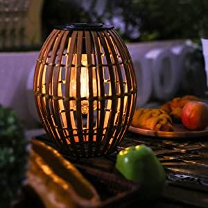 Large Solar Lantern Outdoor Waterproof Decor, Natural Bamboo Woven Lamps with Edison Bulb, Rattan Rustic Light for Garden Patio Tabletop Desk Home Decor