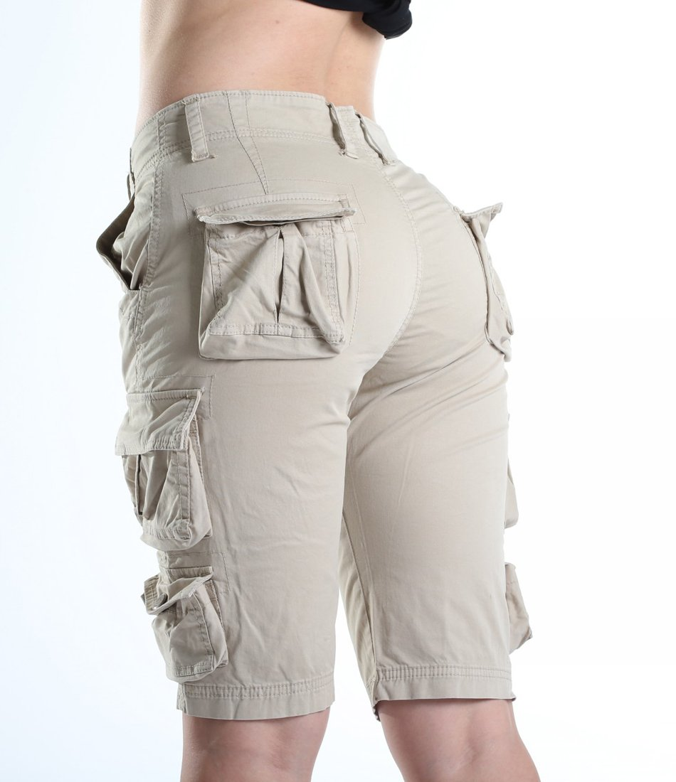 FOURSTEEDS Women's Cotton Butt Lift Multi-Pockets Camouflage Casual Twill Bermuda Cargo Shorts with Belt Light Khaki US 8 by FOURSTEEDS (Image #5)
