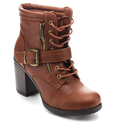 BETANI Tanya-1 Women's Lace Up Buckle Strap Chunky Heel Combat Ankle Booties | Ankle & Bootie