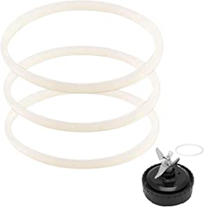 3 Pack Rubber Gaskets Replacement Seal White O-Ring for Nutri Ninja Pro Blender Replacement For Ninja BL610 1000w BL660 1100w BL770 1500w BL663 BL740 BL773CO BL780 BL780CO (3.13 inch Gaskets)