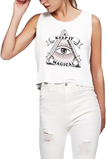 Camisetas Mujer Elegantes Sin Mangas Cuello Clásico Redondo ...