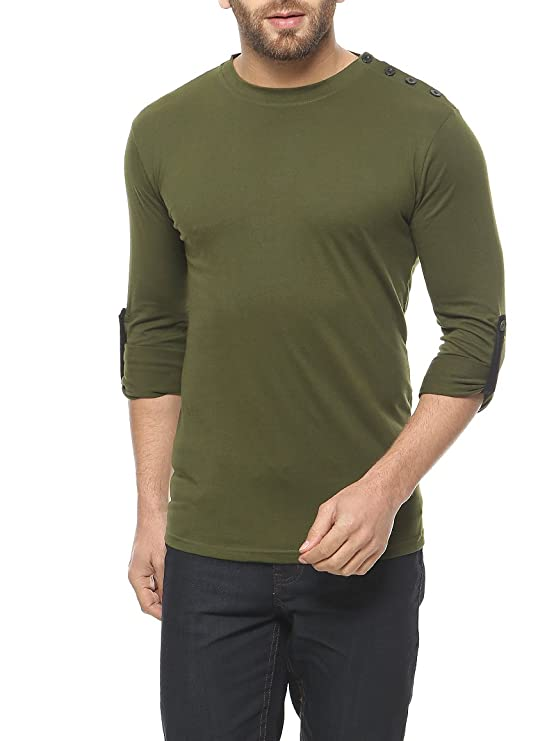GRITSTONES Olive Green Full Sleeve Round Neck T-Shirt Men's T-Shirts at amazon