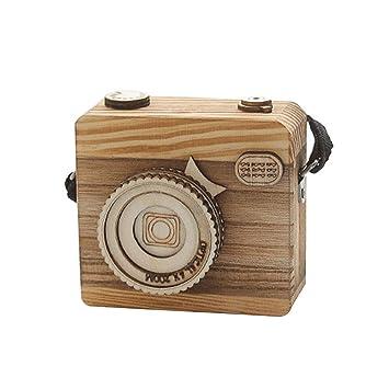 Caja de música Retro, forma de cámara de madera/regalo infantil para Navidad,