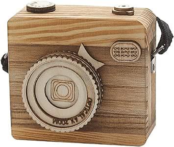 Caja de música Retro, forma de cámara de madera/regalo infantil para Navidad, Año Nuevo, Decoración del Hogar o Dormitorio: Amazon.es: Hogar