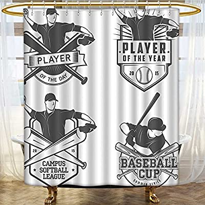 Water Repellent Fabric Shower Curtain or Liner And Softball Labels And Badges Championship Winner Waterproof and Mildewproof Polyester Fabric 36 x 72 inches