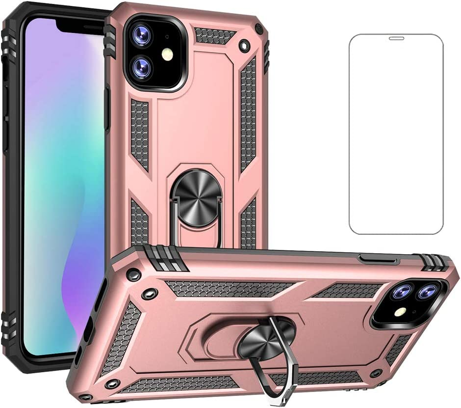 Phone Case for Apple iPhone 11 2019 6.1 inch Cases with Tempered Glass Screen Protector Ring Holder Stand i-Phone i Eleven Shockproof Back Cover Pink