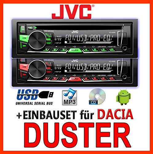 Dacia Duster -JVC KD-R469E - CD/MP3/USB Autoradio - Einbauset JUST SOUND best choice for caraudio