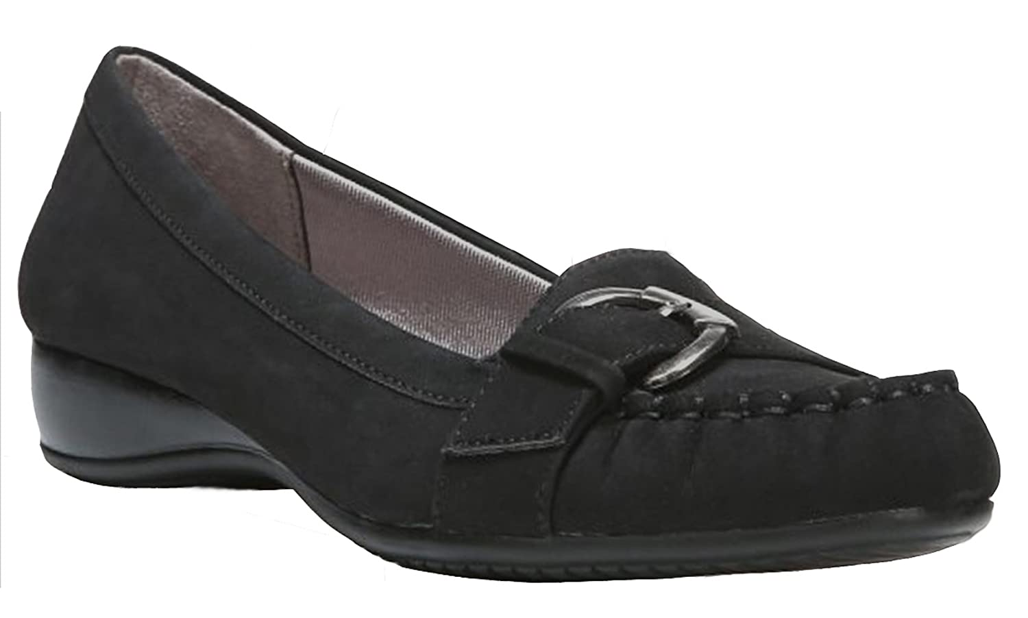 LifeStride Womens Dial-Up Loafers Shoes (8.5 B(M) US, Black Faux Suede)