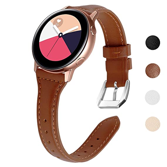 EZCO Compatible Samsung Galaxy Watch Active Bands/Galaxy Watch 42mm / Gear Sport Bands, 20mm Slim Genuine Leather Watch Strap Replacement Wristband ...