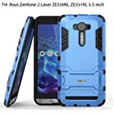 "Heartly Asus Zenfone 2 Laser Ze550Kl Ze551Kl 5.5"" Back Cover Graphic Kickstand Hard Dual Rugged Armor Hybrid Bumper Case - Power Blue"