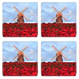 MSD Square Coasters Image ID 24880281 Christmas star red poinesettia garden and wind turbine flower