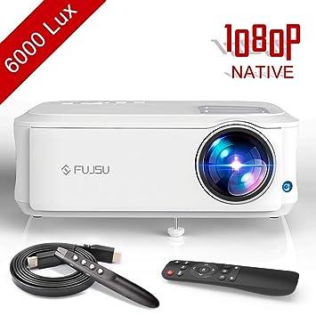 Proyector, FUJSU 6000 Lúmenes Proyector Full HD 1920 x 1080P Nativo Proyector Cine en Casa Soporta 4K Sonido Hi-Fi Proyector LED 78000 Horas Bajo ...