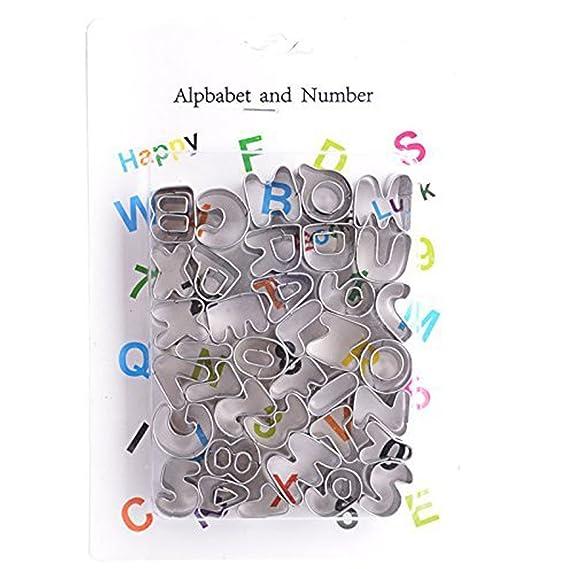 Amazon.com: eDealMax 37 Letras Números del alfabeto Juego de moldes de decoración de tortas Pastel de mazapán pasta de azúcar para la Navidad DIY ...