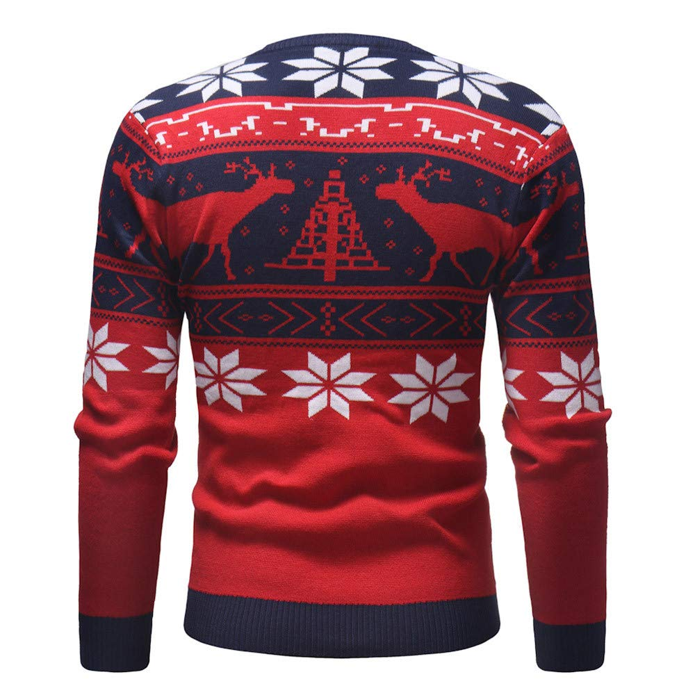 Pullover Knitted Printed Autumn Winter Knitwear Blouse Top iLH Mens Christmas Sweater