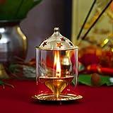 JaipurCrafts Designer Akhand Diya (Medium, Brass) - 13 cms