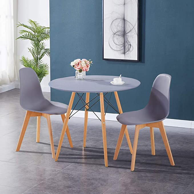 Gray GOLDFAN Dining Table With 2 Chairs Foldable Wooden Table Set and Dining Chairs With Backrest for Kitchen Dining Room Living Room Restaurant 90cm
