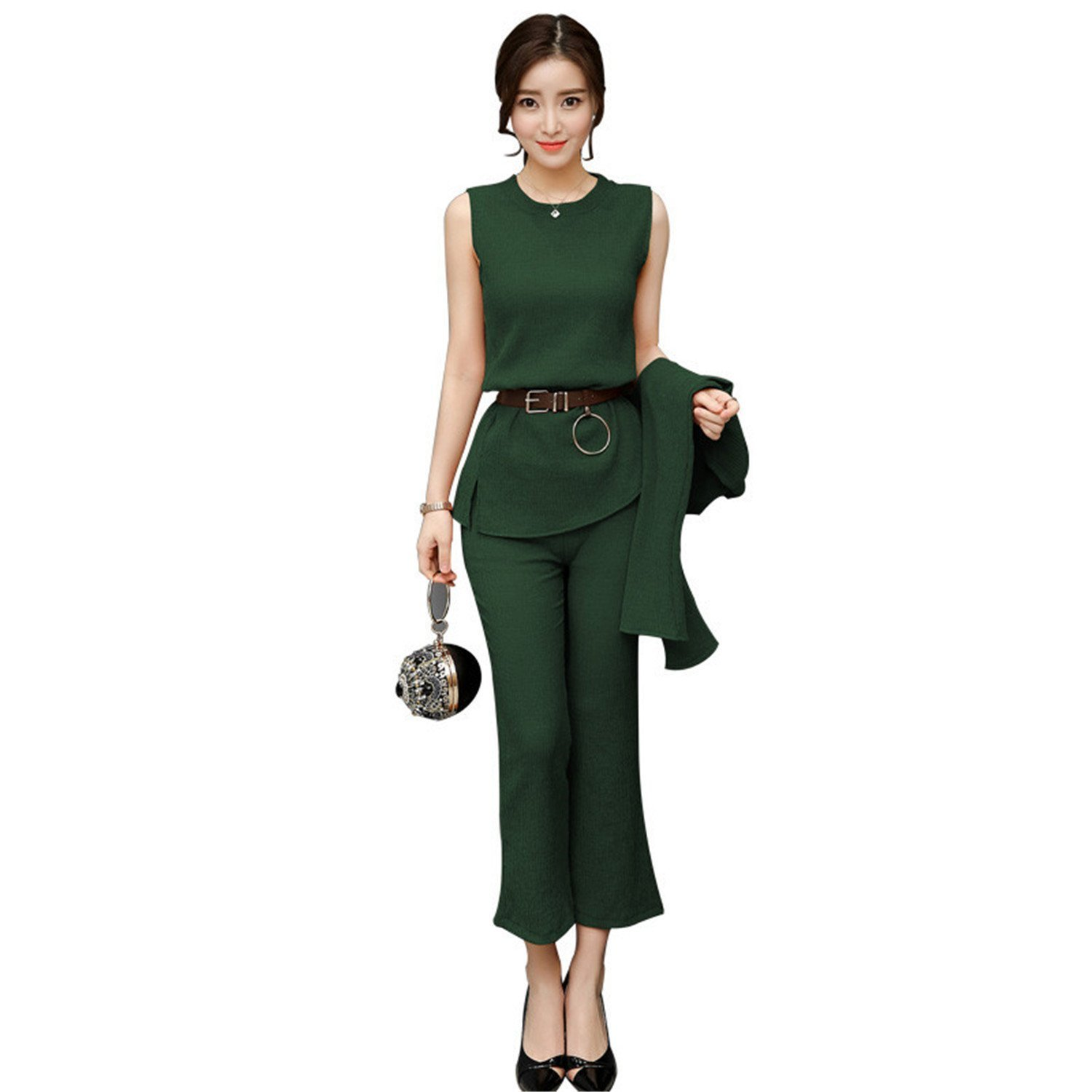 Shining4U Women Suit Temperament Solid color Wide leg pants Round collar Three-piece Sets Women M-2XL WXY141