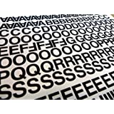 """Pack of 356 x 0.5"""" (12.7mm) Black Vinyl Sticky Letters & Numbers , Self-Adhesive , Stick on , Cut-to-shape , waterproof lettering for signs, vehicles, boats, posters & school projects"""