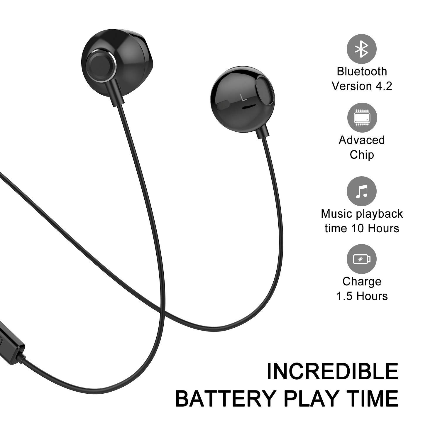 Bluetooth Headphones, Yostyle Magnetic Wireless Earbuds Bluetooth 5.0 Noise Canceling Earphones Sweatproof Sport Headset w/Mic for iPhone X/XR/XS/8/7/6 Plus, Galaxy S10/S9/S8,10 Hrs Work Time(Black)