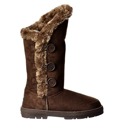 Ella Triple +3 Button Fur Lined Flat Winter Boot Faux Suede - Chestnut Brown ,