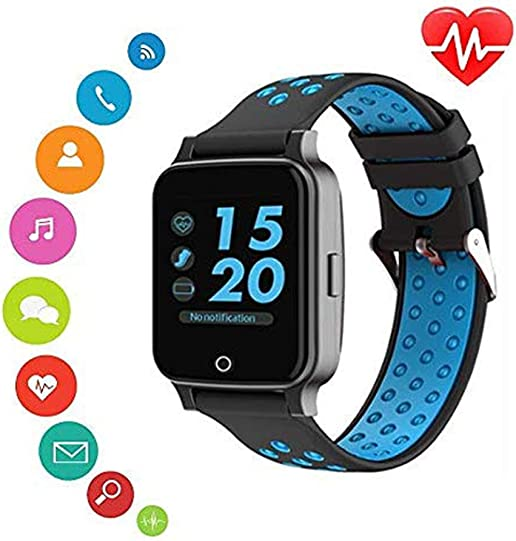 2019 New Bluetooth Smart Watch- KKcite Bluetooth Fitness Tracker Sports SmartWatch, Waterproof Touch Screen Watch with Blood pressures Heart Rate Monitor Calories, Compatible Android iOS Phones Blue