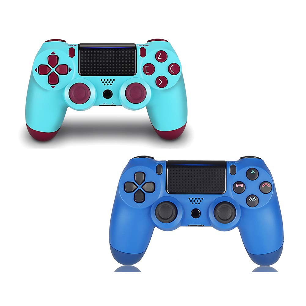 PS4 Controller 2 Pack,DualShock 4 Wireless Controller for Playstation 4 (Berry+Blue)