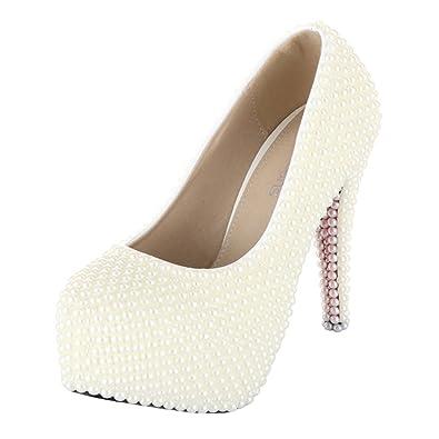 Amazon.com  VELCANS Womens White Pearl High Heels Platform Bridal