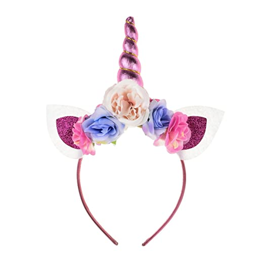 Floral Fall Unicorn Horn Flower Crown Headband Costume Photo Props Birthday  Outfit DJ-23 ( 669ad76f2e8