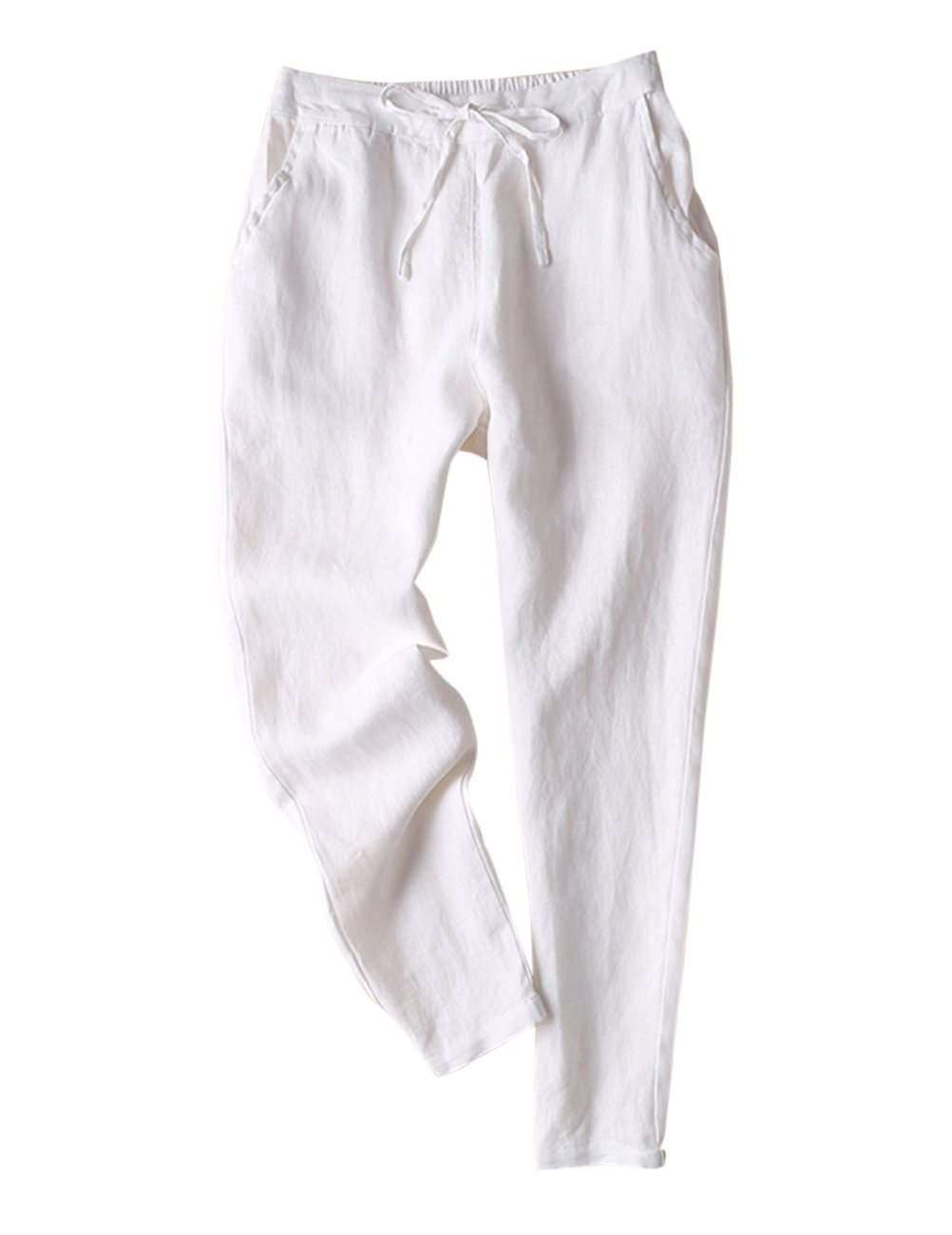 IXIMO Women's Tapered Pants 100% Linen Drawstring Back Elastic Waist Pants Trousers with Pockets White XS