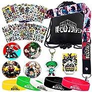 My Hero Academia Bag Set - 1 MHA Drawstring Bag Backpak, 12 Sheet Stickers, 1 Lanyard, 1 Keychain, 1 Phone Rin